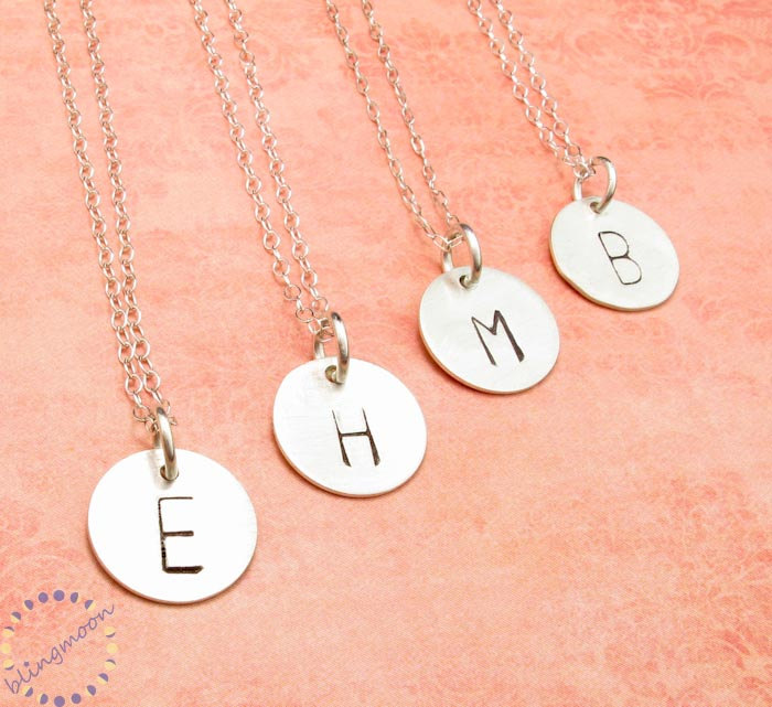 initial necklace personalized necklace charm necklace silver initial charm custom necklace engraved necklace