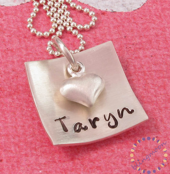 Personalized jewelry: custom engraved necklace in silver with heart charm