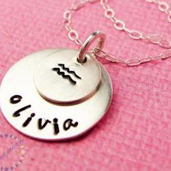Hand stamped necklace Zodiac Signs Zodiac Jewelry Zodiac Necklace Astrological Sign Charm Horoscope Jewelry Handstamped Necklace