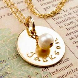 14K gold filled disc with pearl charm: Custom name engraved necklace: