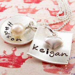 Stamped necklace: Custom engraved sterling silver charm